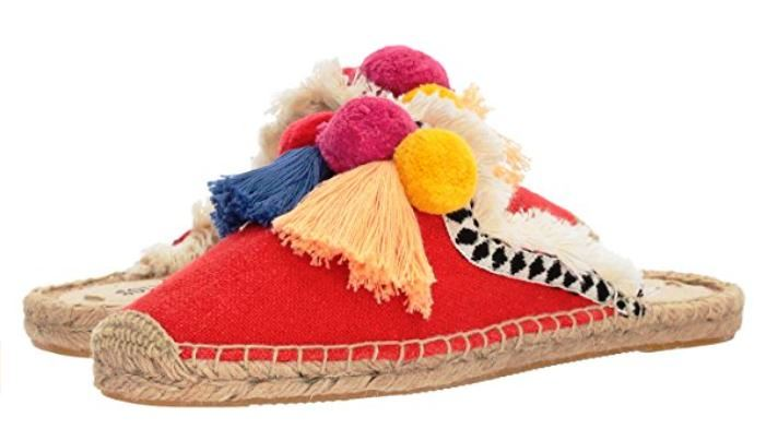 Soludos Frayed Edge Pompom Mules are surprisingly versatile, as they feature a number of common elements found in a variety of ethnic apparel traditions.