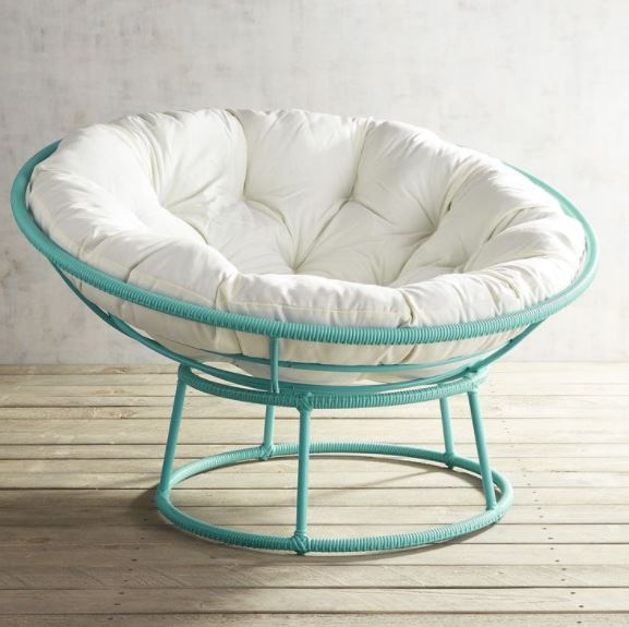 Another affordable choice for bedroom seating, this papasan chair based has been painted in a glossy modern color for a light, different look