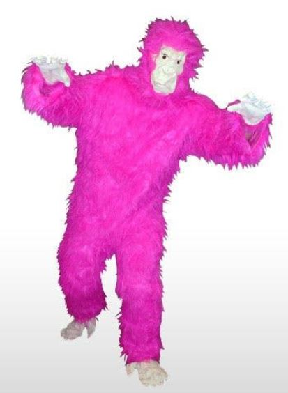 I would so cosplay this Pink Gorilla Costume, with ghostly white face and appendages, in a costume of its own. Or, go on a Rampage with your Rock. There is only one in stock at prankplace.com, so grab it quick. Or, find similar ones at places like Walmart.