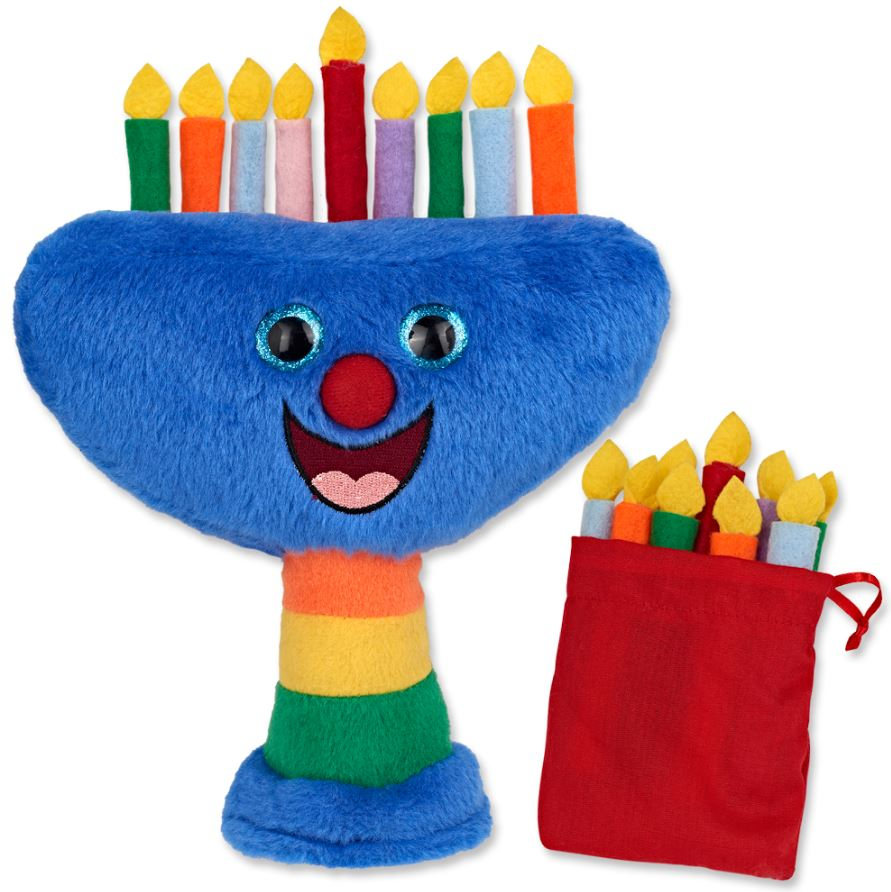 Kids Plush Menorah with Removable Candles. traditionsjewishgifts.com